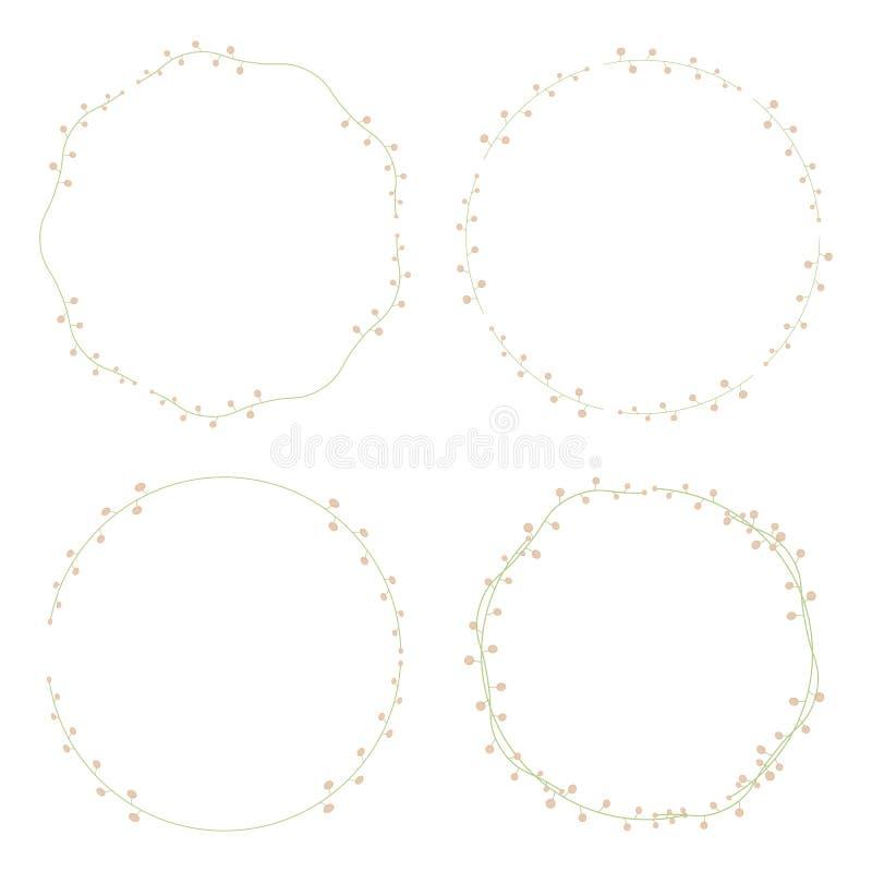 套与清淡的在白色背景隔绝的桃子两色球对象的四个精美典雅的绿色花卉花圈 向量例证