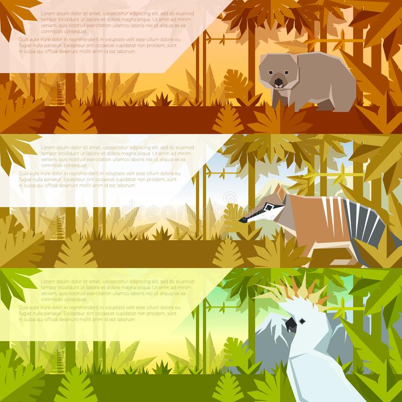 套与澳大利亚动物的平的横幅 皇族释放例证