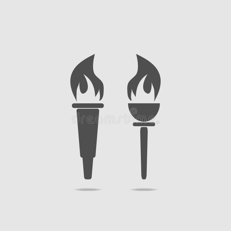 套与火的两个火炬 也corel凹道例证向量 皇族释放例证