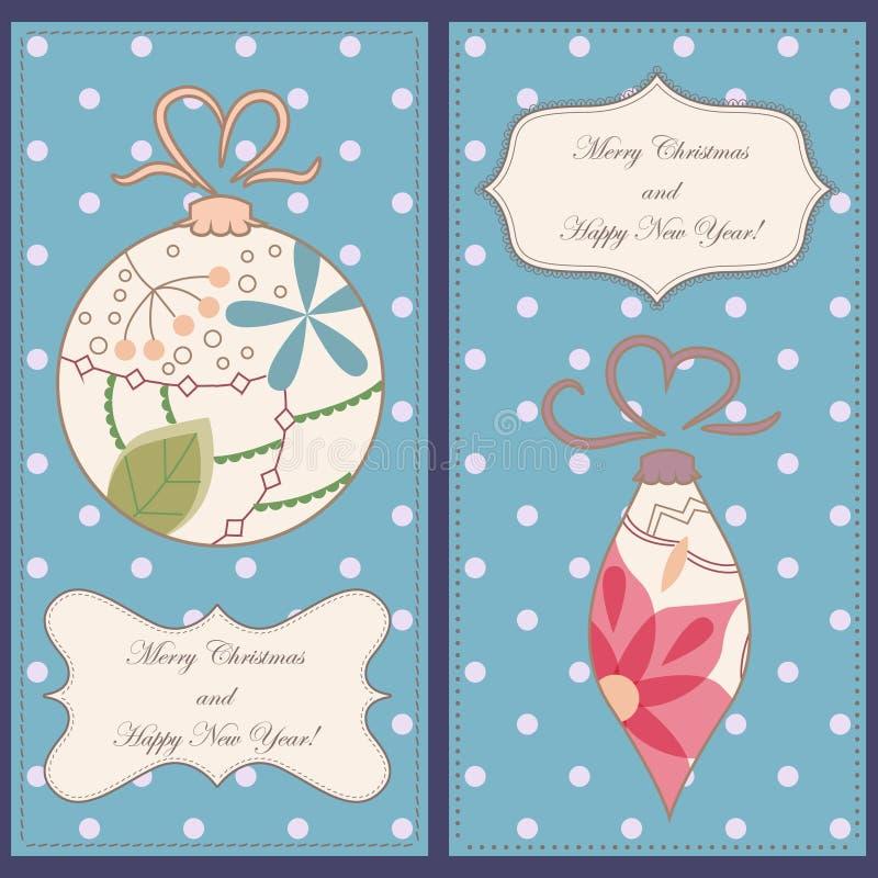 套与玩具葡萄酒的圣诞节和新年卡片 向量例证