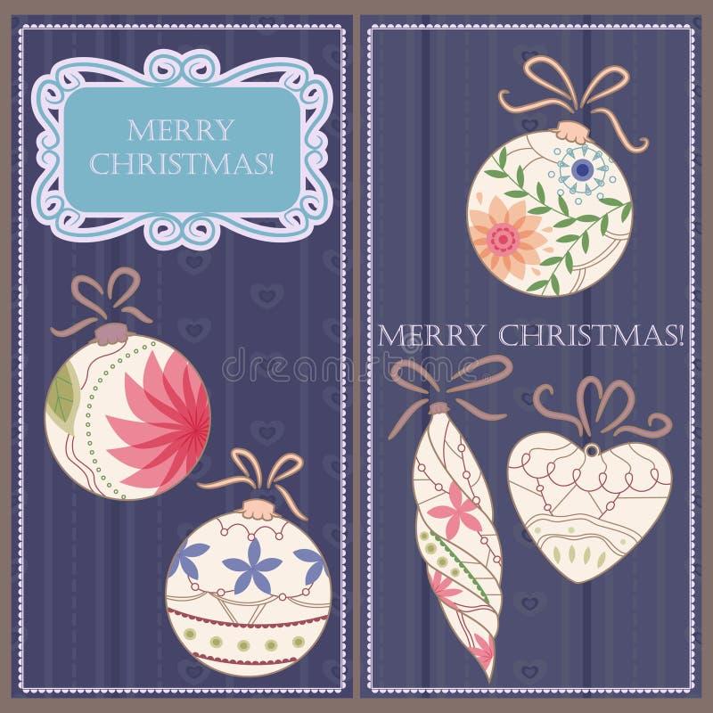 套与玩具葡萄酒的圣诞节和新年卡片 库存例证