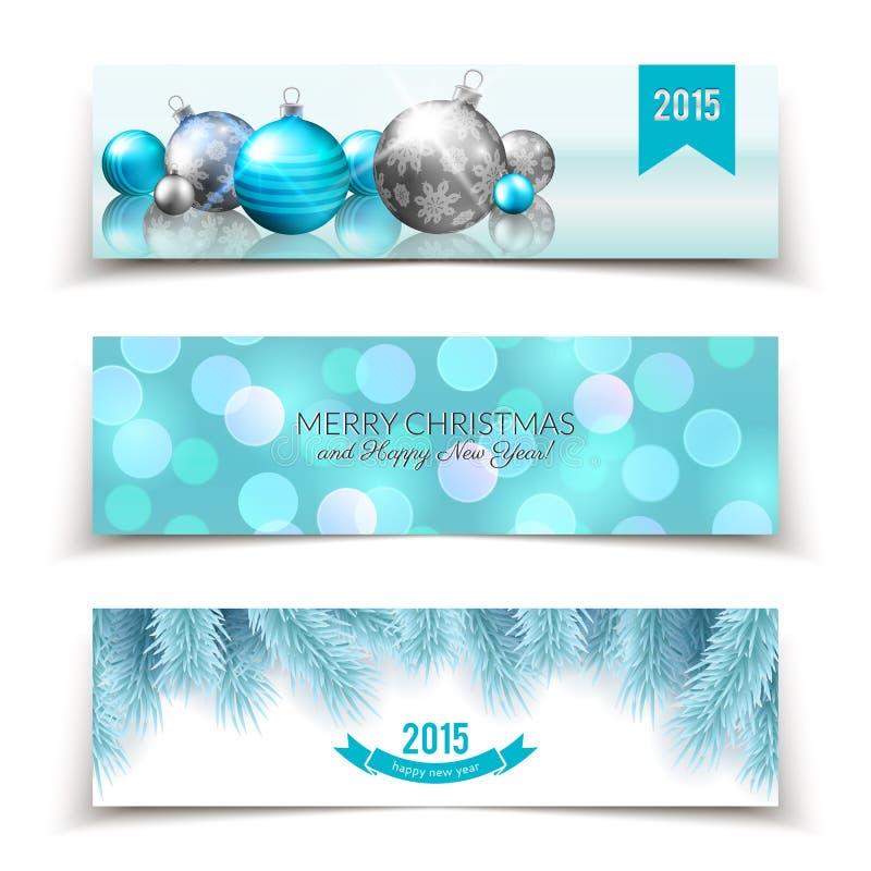 套与球、冷杉分支和bokeh背景的圣诞节和新年横幅 向量例证