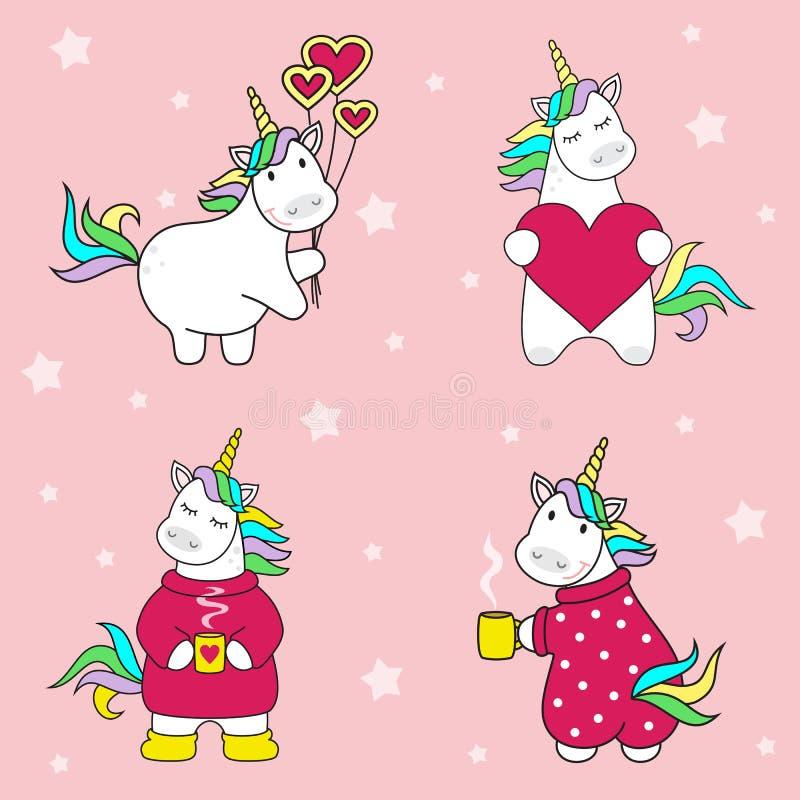 套与球的逗人喜爱的独角兽象,与一杯茶,与心脏、彩虹和星,儿童例证,动画片desig 皇族释放例证