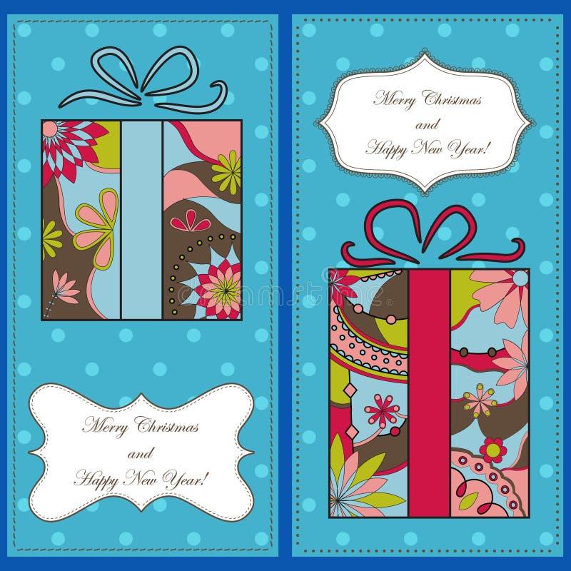 套与礼物的圣诞节和新年卡片 向量例证