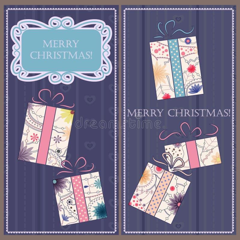 套与礼物葡萄酒的圣诞节和新年卡片 库存例证