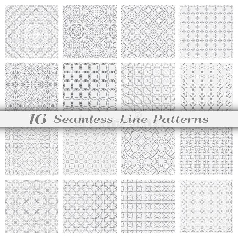 套与稀薄的线的十六个无缝的线性样式 库存例证
