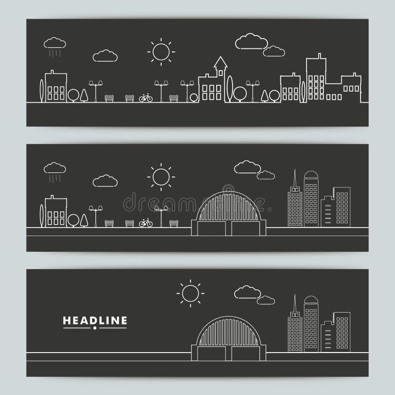 套与等高都市风景的横幅 库存例证