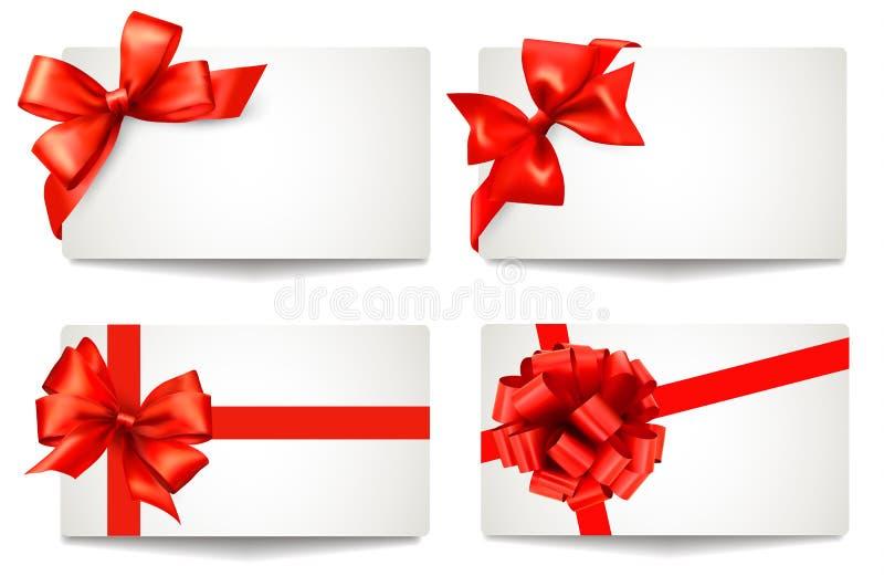 套与红色礼物的美丽的礼品券鞠躬机智 皇族释放例证