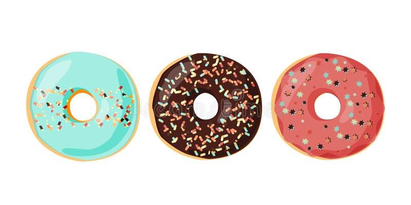 套与结冰的给上釉的色的油炸圈饼洒 也corel凹道例证向量 皇族释放例证