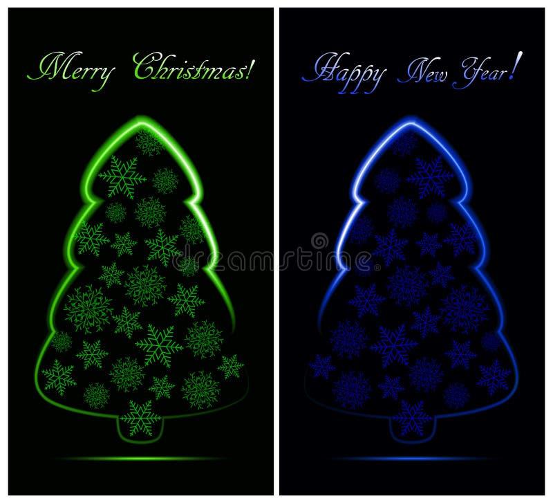 套与绿色和蓝色抽象霓虹圣诞树的圣诞卡与雪花 皇族释放例证