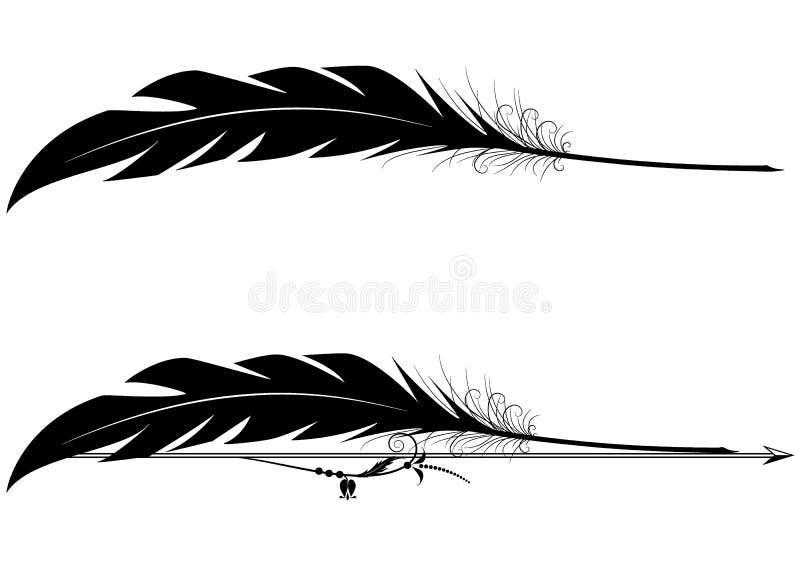 套与羽毛笔的小插图 向量例证