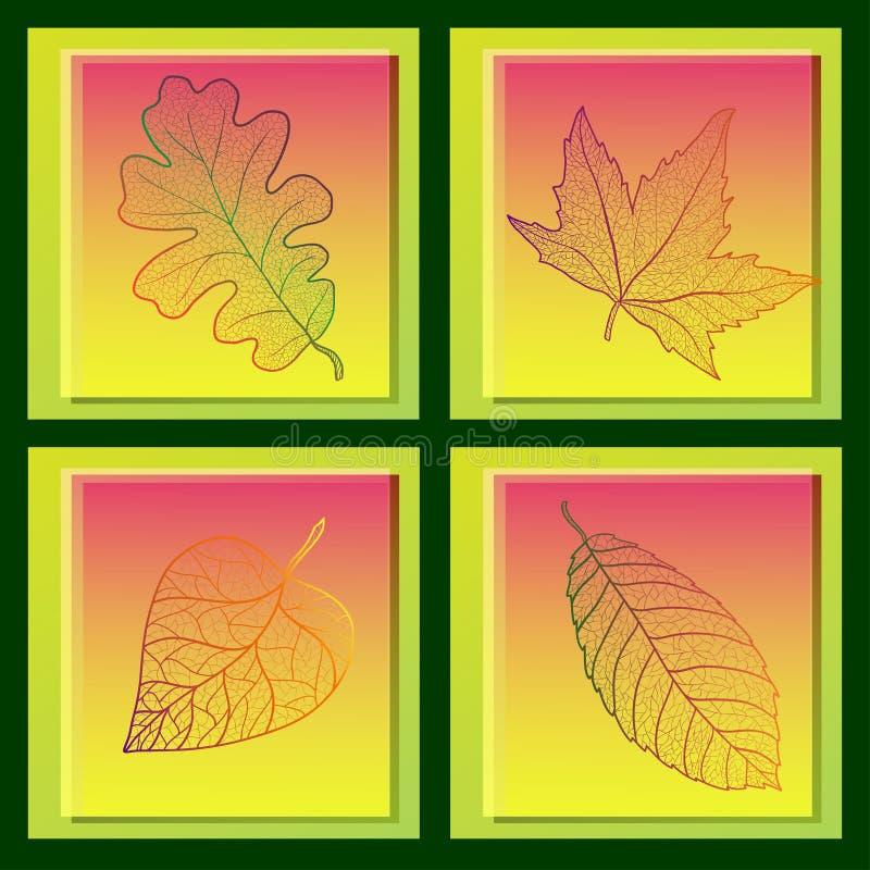 套与色的秋叶的四张卡片。 皇族释放例证