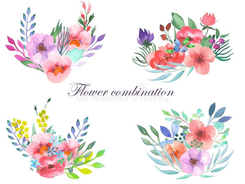 套与花、叶子和植物的水彩花束 皇族释放例证