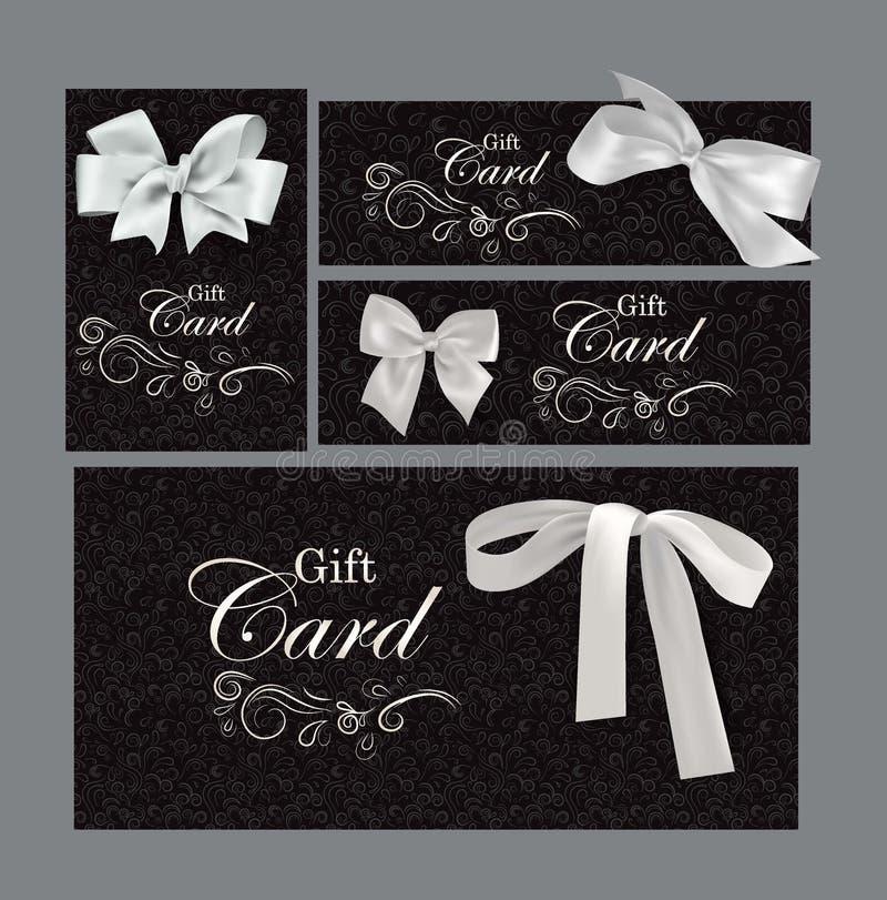 套与花卉设计元素和白色弓的礼品券 库存例证