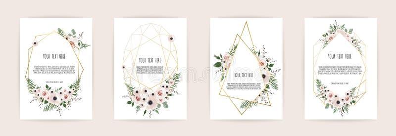 套与花玫瑰、叶子和几何框架的卡片 婚礼装饰品概念 花卉海报,邀请 向量 皇族释放例证