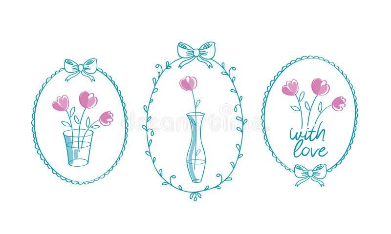 套与花的手拉的花卉葡萄酒框架 库存例证