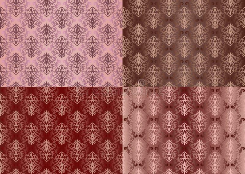 套与花的葡萄酒装饰品无缝的样式在大马士革样式深紫红色背景中设计 库存例证
