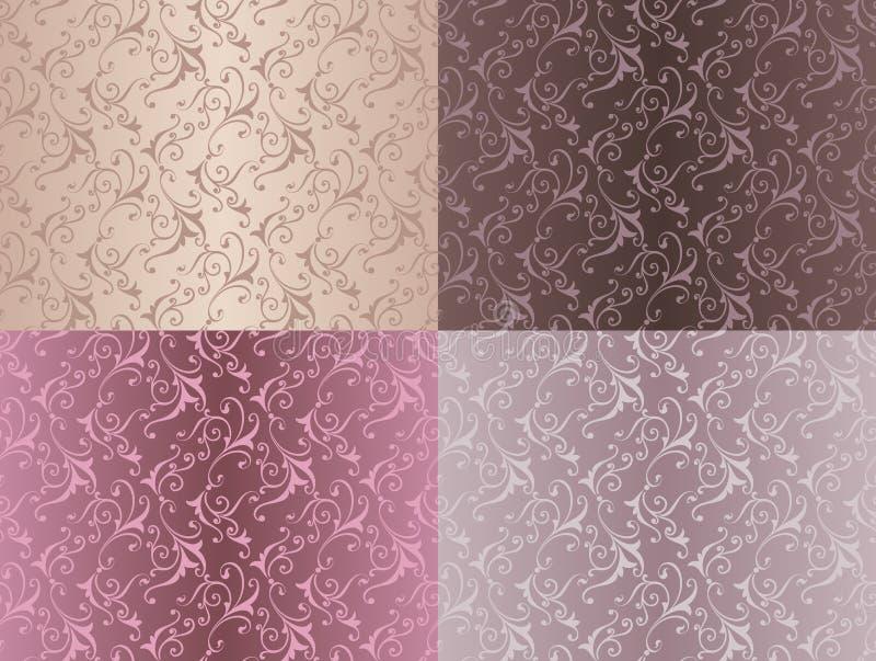 套与花的葡萄酒装饰品无缝的样式在大马士革样式深紫红色背景传染媒介例证设计 皇族释放例证