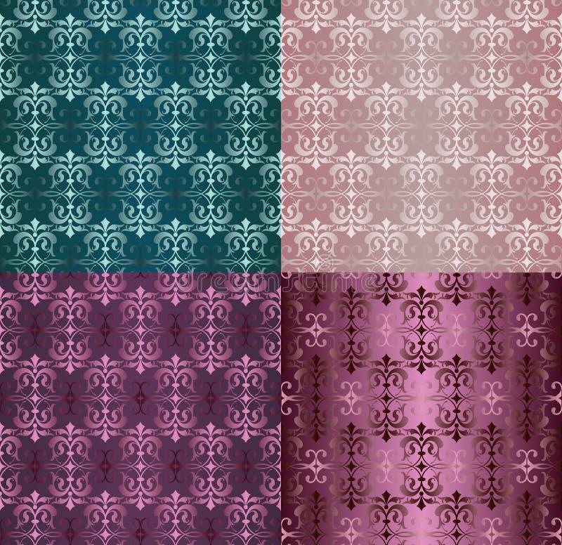 套与花的葡萄酒装饰品无缝的样式在大马士革样式深紫红色背景传染媒介例证设计 向量例证