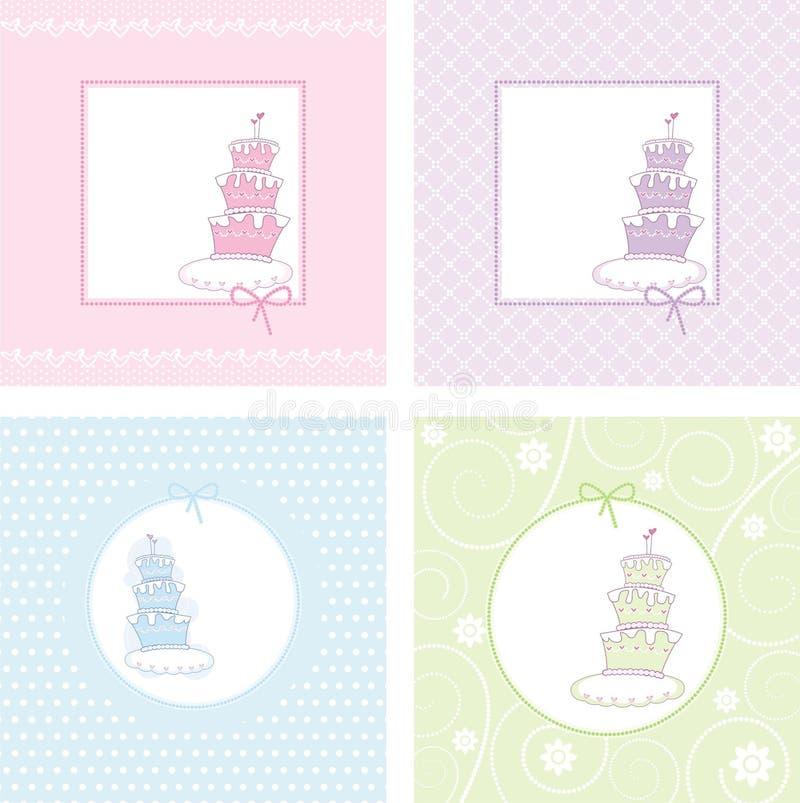 套与蛋糕的欢乐postals 皇族释放例证
