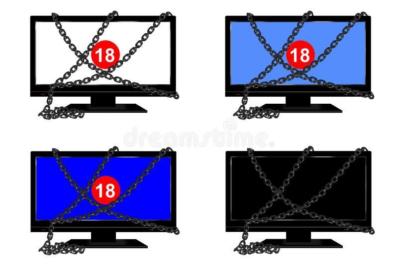 被束缚的电视 库存例证