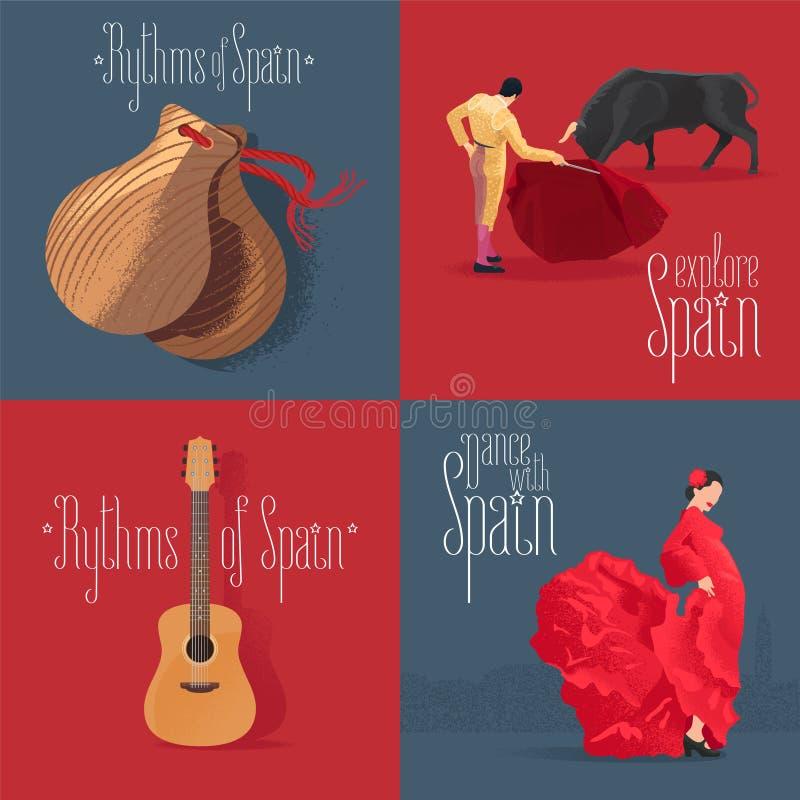 套与西班牙标志的传染媒介例证:佛拉明柯舞曲舞蹈家,西班牙吉他,公牛战斗机 皇族释放例证
