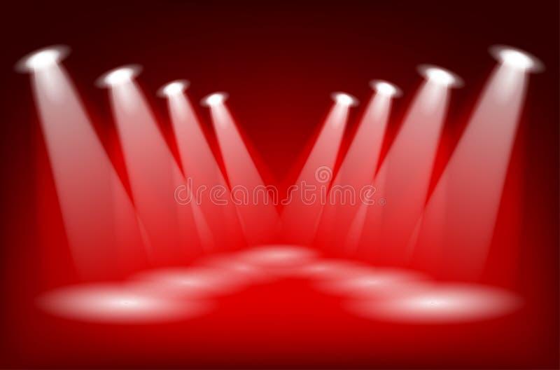 套与车前灯光束的光 向量例证