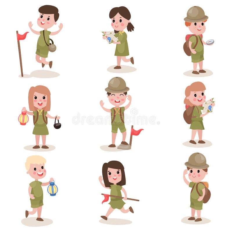 套与远足设备,夏令营活动的男孩和女童子军 向量例证