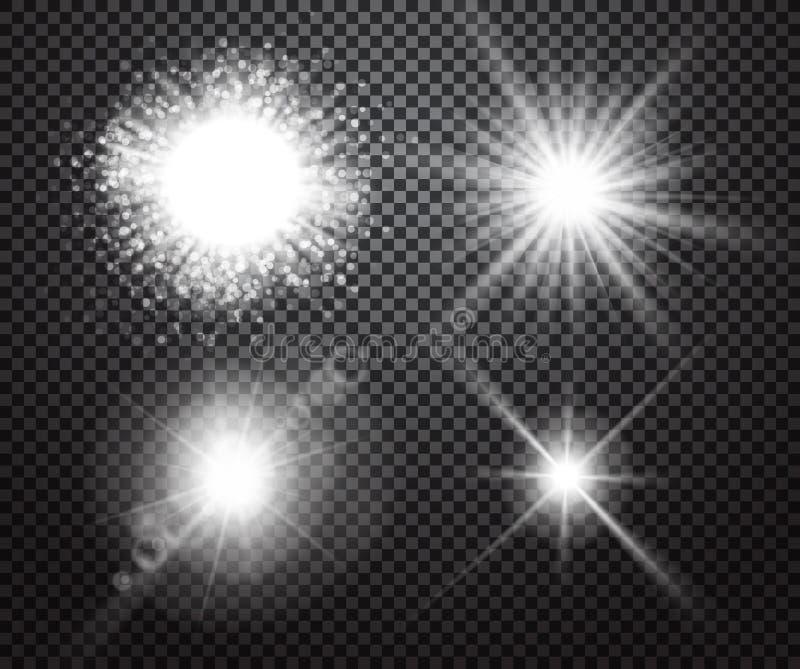 套与透明度的发光的光线影响 库存例证