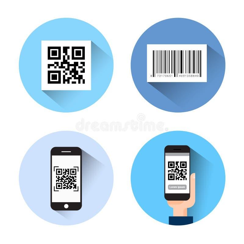套与酒吧扫描巧妙的电话的Qr代码的象隔绝在白色背景 向量例证