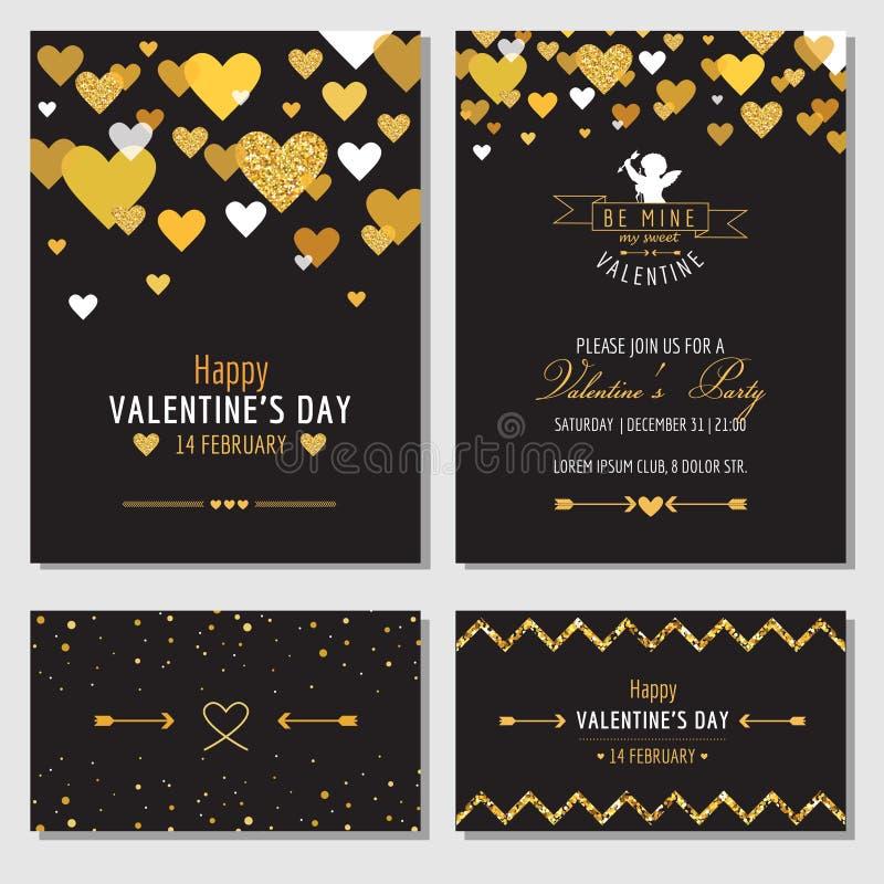 套与金子闪烁的爱卡片 库存例证