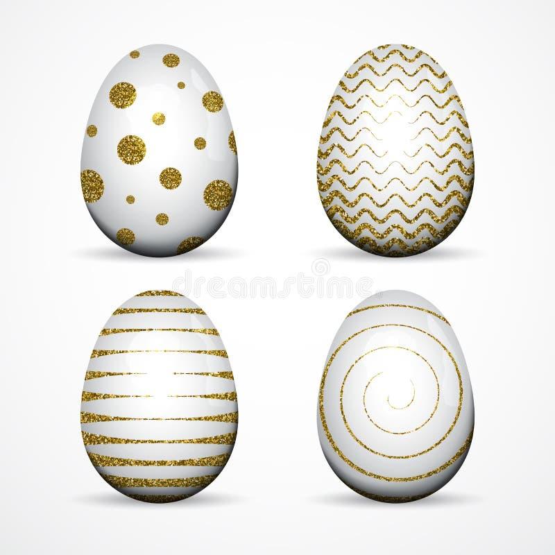 套与金子闪烁的白色复活节彩蛋构造了小点,在白色背景的条纹 库存例证