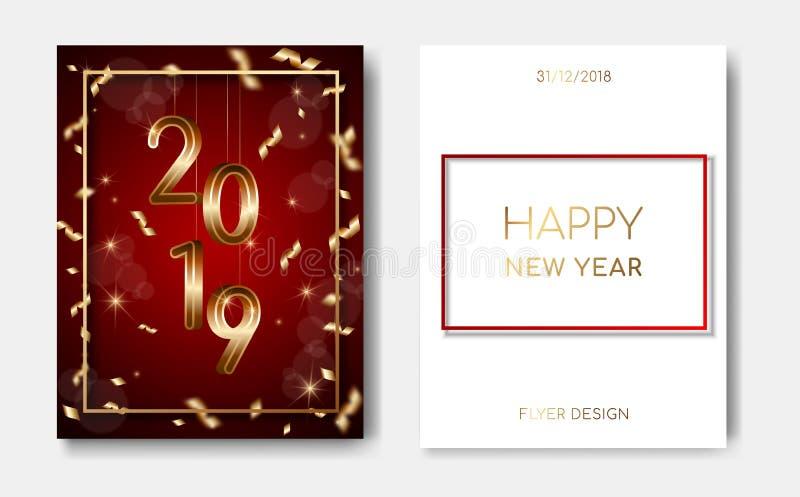 套与金黄3D第的2位新年快乐夜飞行物横幅2019年,发光的星,五彩纸屑,在深红轻的闪光 库存例证