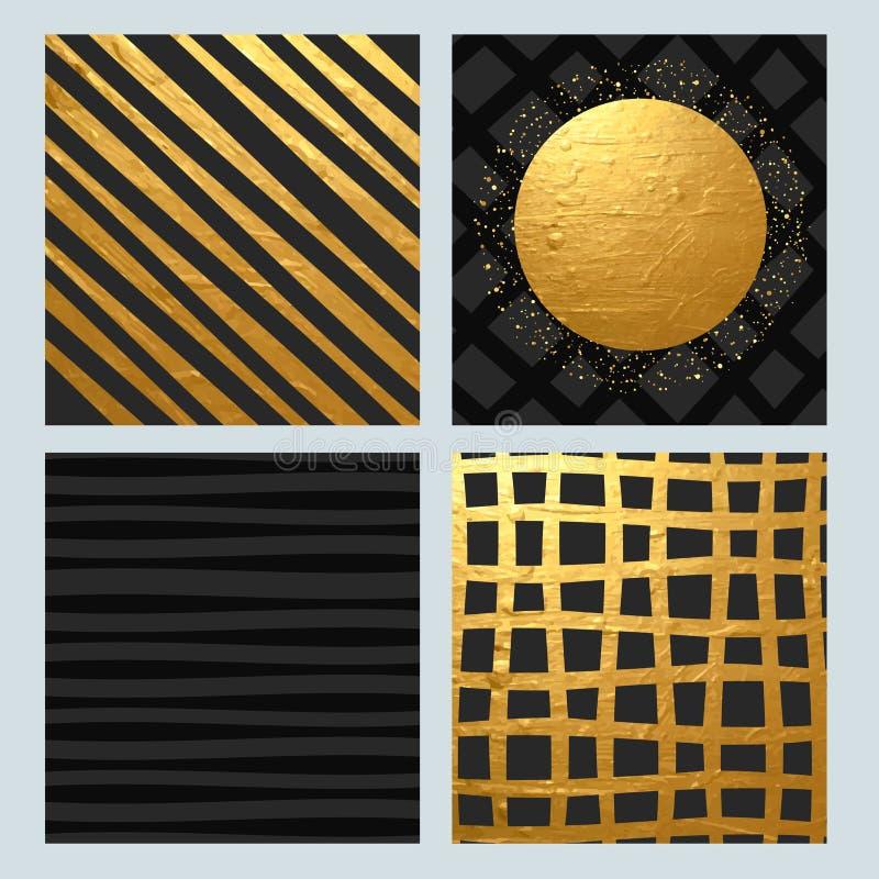 套与金黄纹理的抽象样式 库存例证