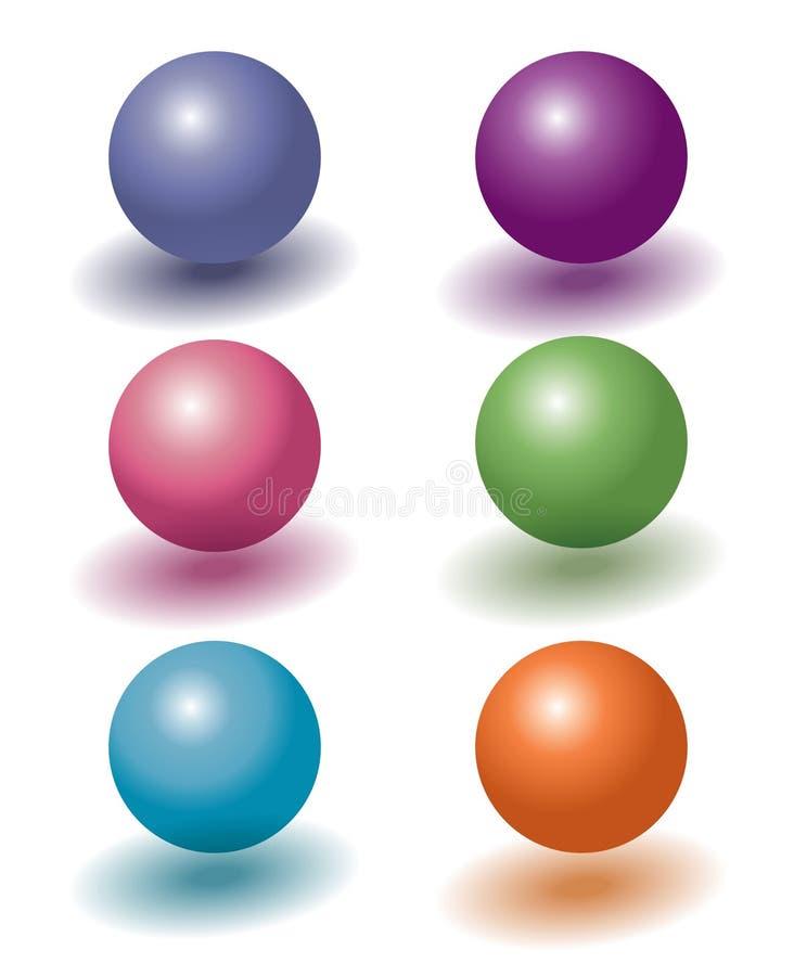 套与阴影的六个颜色3d塑料浮动的球 向量例证