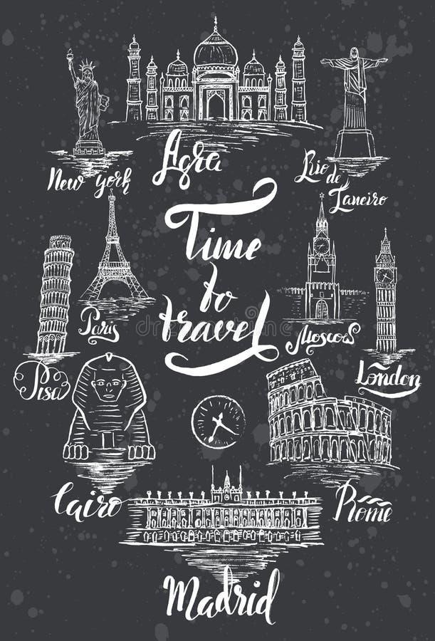 套与阿格拉,开罗,里约热内卢,比萨,马德里,纽约,莫斯科,巴黎,罗马,伦敦字法的地标  皇族释放例证