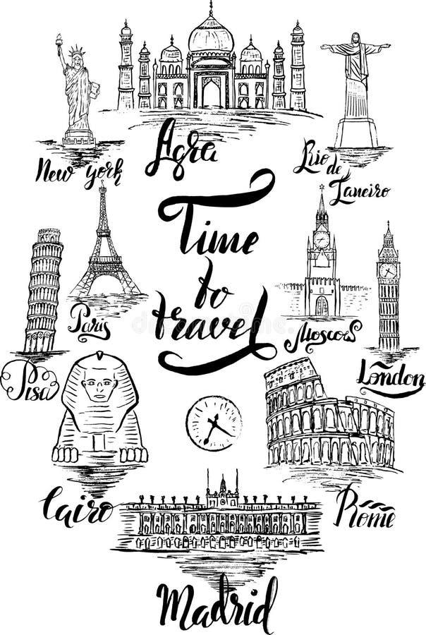 套与阿格拉,开罗,里约热内卢,比萨,马德里,纽约,莫斯科,巴黎,罗马,伦敦字法的地标  库存例证