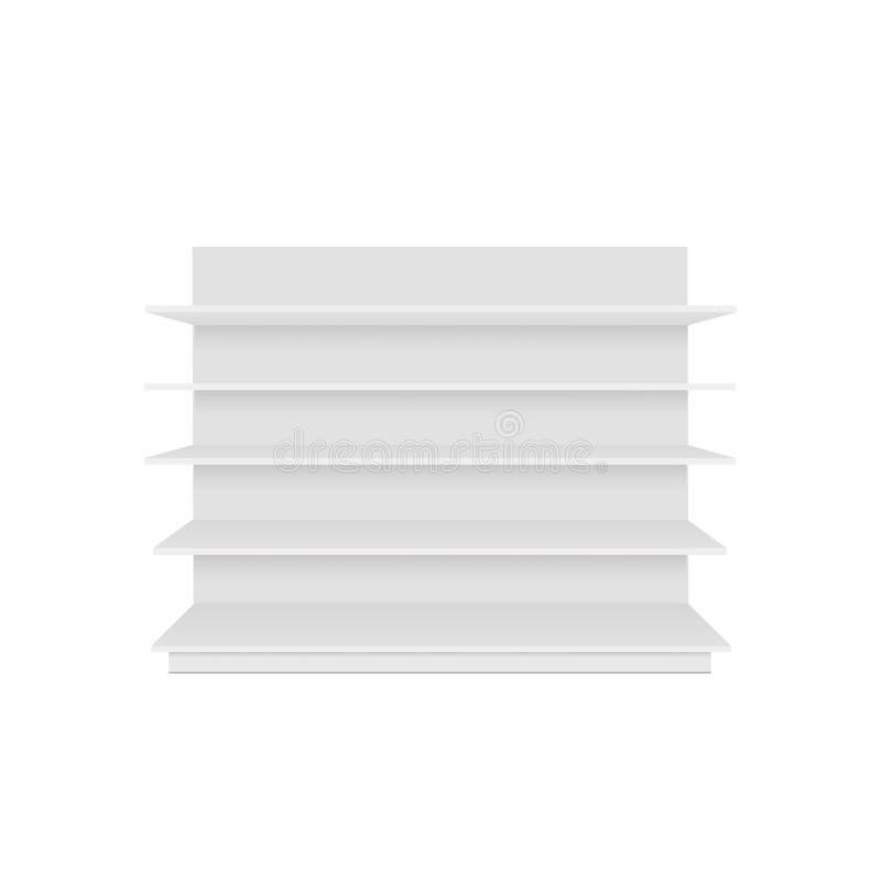 套与零售架子的空白的空的陈列室显示 正面图 导航假装模板准备好您的设计 皇族释放例证
