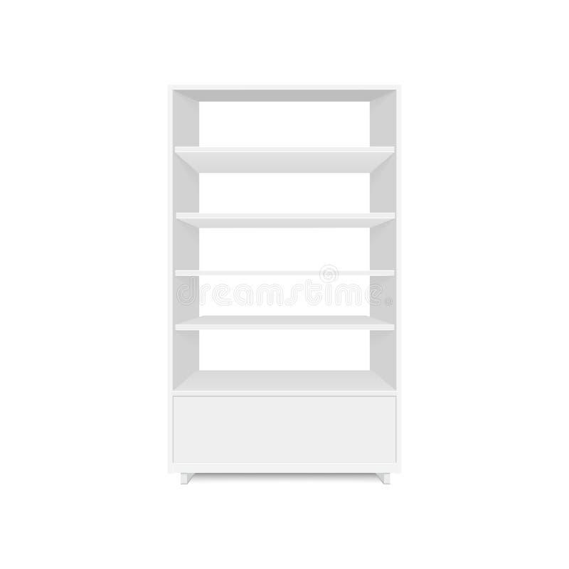 套与零售架子的空白的空的陈列室显示 正面图 导航假装模板准备好您的设计 向量例证