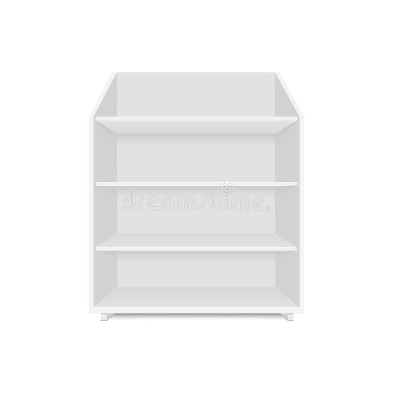 套与零售架子的空白的空的陈列室显示 正面图 导航假装模板准备好您的设计 库存例证