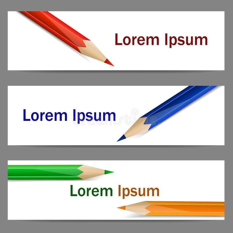 套与颜色铅笔的横幅 皇族释放例证