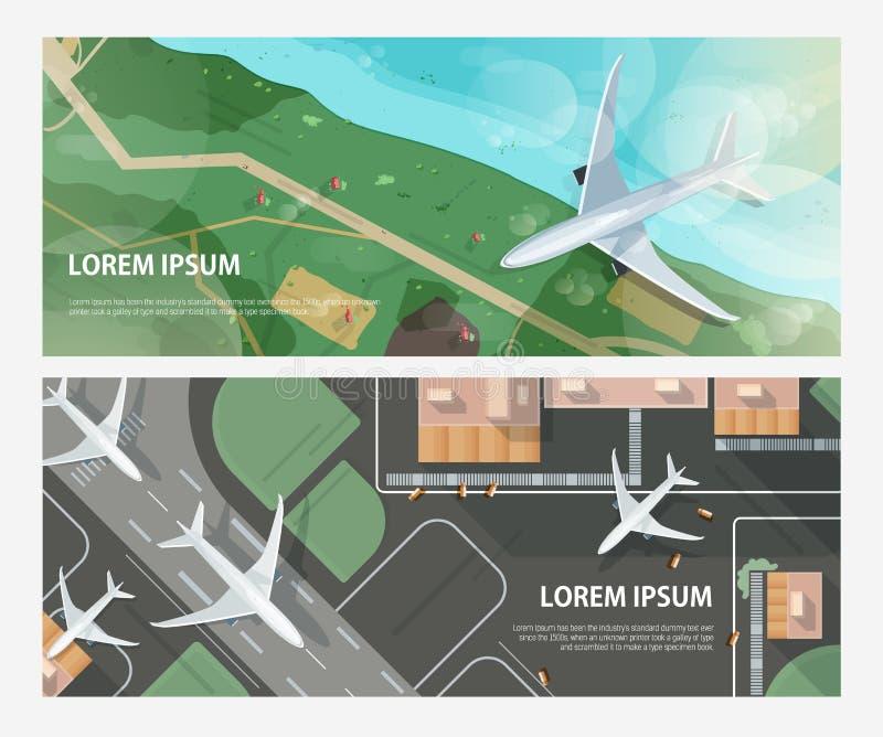 套与飞行在海滨上和乘出租车和离开在机场跑道的飞机的水平的横幅 乘客 库存例证