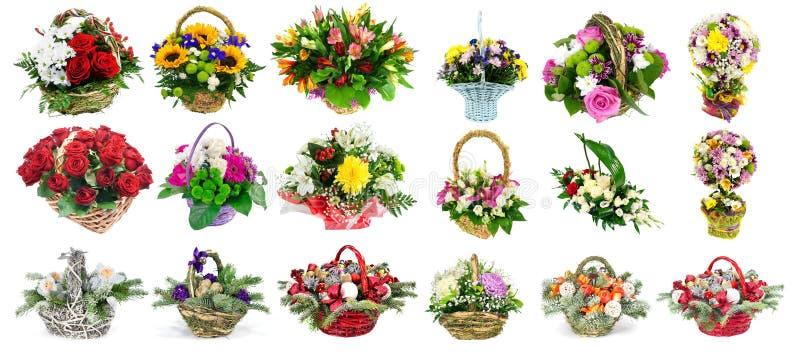 套与鲜花的篮子 库存照片