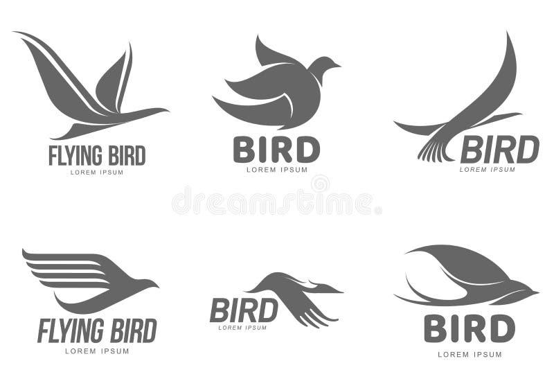 套与鸟的黑白风格化商标模板 向量例证