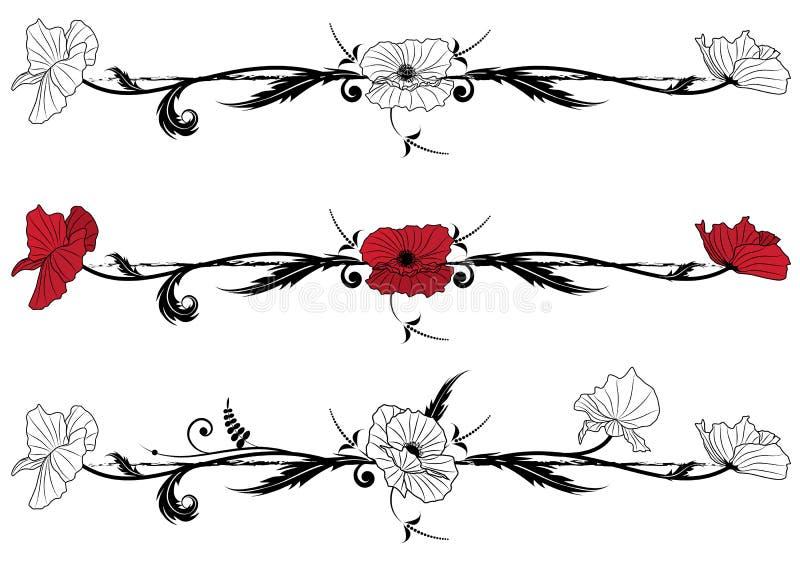 套与鸦片的花卉小插图 向量例证