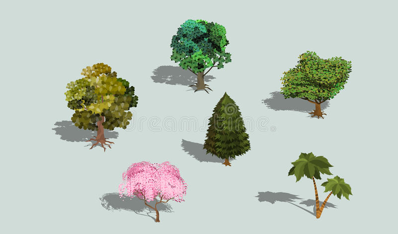 套与阴影的传染媒介3D等量树 库存例证