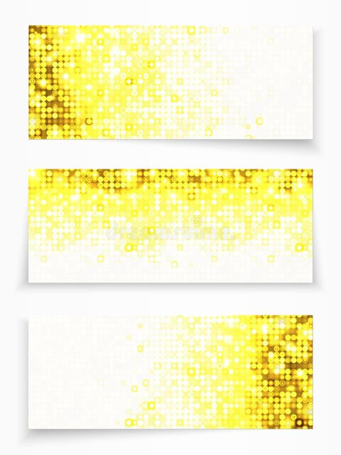 套与黄色圈子的3副横幅 库存例证