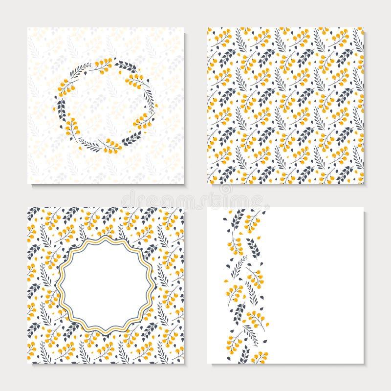 套与黄色抽象花的四张卡片 向量例证