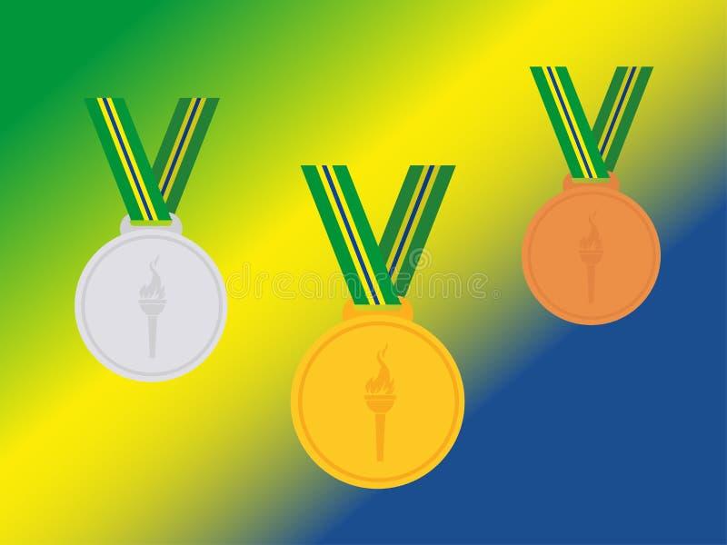 套与巴西丝带的优胜者奖牌在旗子 平的样式 库存例证
