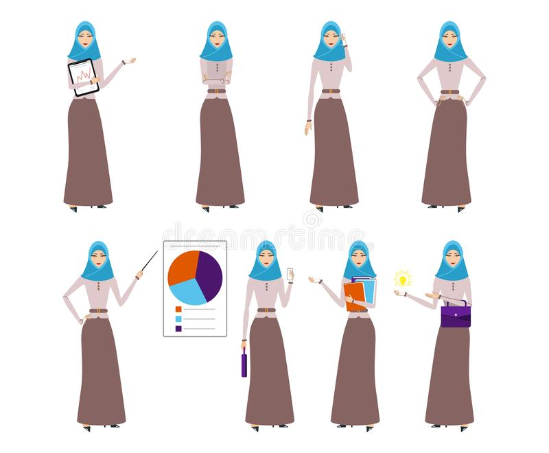 套与hijab的企业阿拉伯妇女字符 hijab指向的微笑的女孩工作 年轻阿拉伯女商人 库存例证